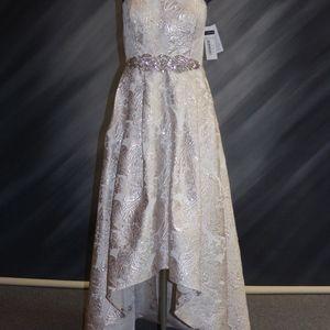 NEW - Hi Low Ivy/Gold Brocade Dress
